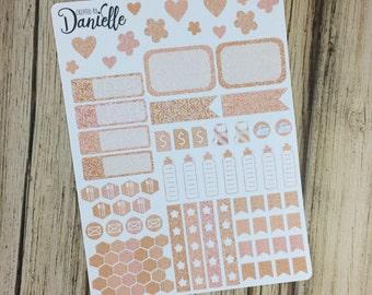 Rose Gold Planner Sticker Kit, Functional Planner Stickers, Icon Planner Sticker, Rose Gold Sticker, set of 91