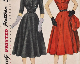 Simplicity 8421 / Vintage 50s Sewing Pattern / Dress And Bolero Jacket / Size 16 Bust 34