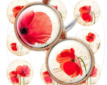Red poppy bottlecap images, bottle cap images, digital collage sheet 1 inch circles, 1 inch circle, poppies digital download, 1 inch poppy