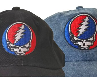Grateful Dead Hat Steal Your face embroidered ballcap/ Stealie/Stealy/SYF embroidered onto a high quality cotton twill cap/adjustable strap