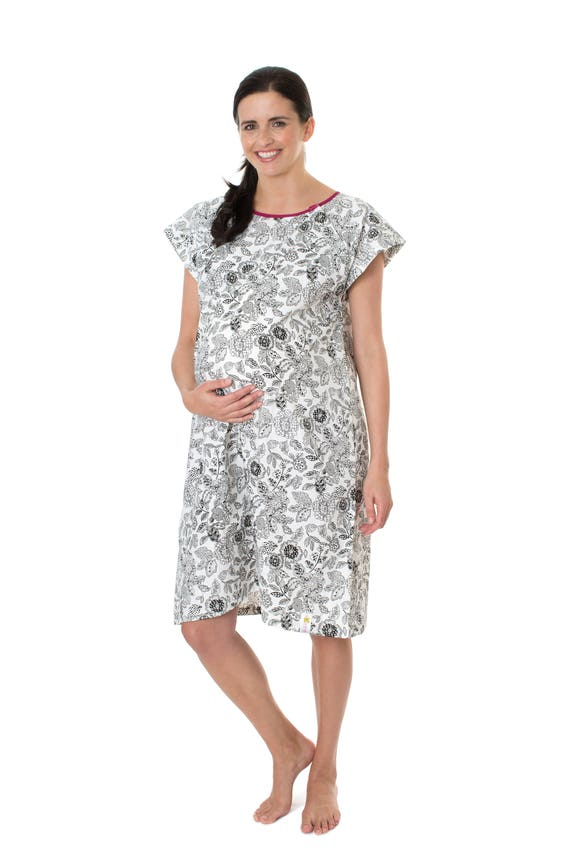 Ella Black White Floral Labor Delivery Maternity Hospital Gown