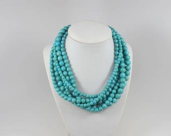 Chunky turquoise necklace, multi strand statement necklace, big turquoise  stone beads,turquoise statement jewelry,matching earrings bonus
