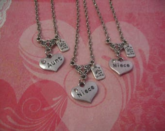 1 Aunt and 2 Niece Necklaces You are Loved Charm Jewelry Gift