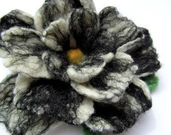 Black and white, wet felted flower pin