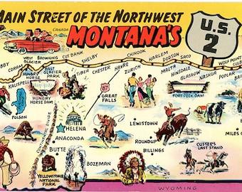 Montana State Map Main Street of Northwest U.S. 2 Vintage Postcard (unused)