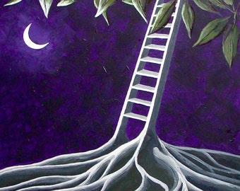 Surreal Landscape Painting, Surreal Night Sky, Ladder, Moon, Ceiba Tree Painting, Purple