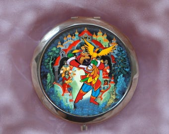 large Pocket mirror with cat: cat and bird of fire