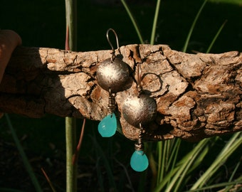 German silver and glass teardrops earrings ( length 3 inches)