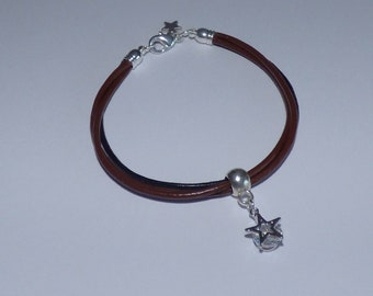 Beautiful leather bracelet 2 tone and his star in zircon