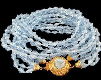 Vintage Blue Lucite 8 Strand Multistrand Torsade Necklace