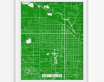 Fort Collins Print, Colorado Poster, Fort Collins Poster, Fort Collins Map, Colorado Map, Colorado Print, Street Map, Mothers Day Gift