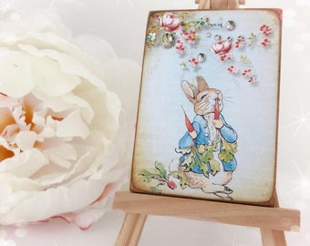 Vintage Style Peter Rabbit...Beatrix Potter...Nursery Plaque...