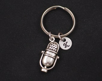 microphone keychain, sterling silver filled, initial keychain, silver microphone charm keyring, broadcaster keychain, singer, Mic keychain