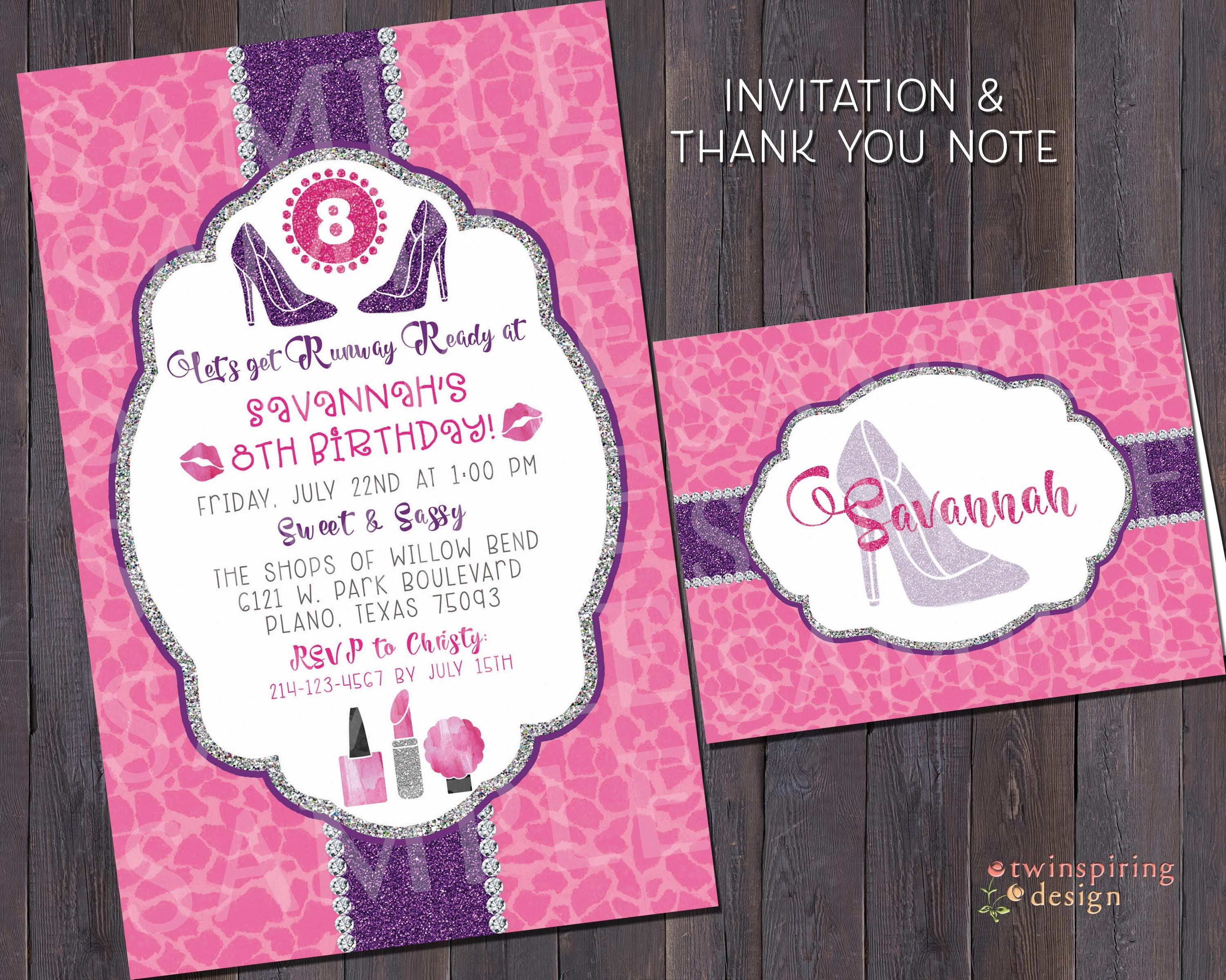 Makeover Fashion Runway Birthday Party Invitations and/or