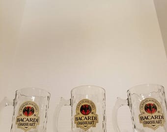 Set of 3 Bacardi Rum Oakheart Mugs, Glasses. Rum, Bacardi, Liquor