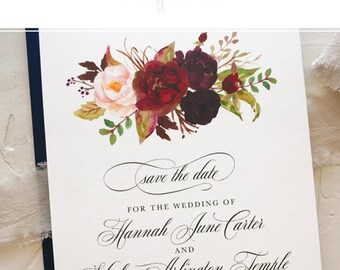 Rustic Save the Date Cards, Wedding Save the Date, Fall Wedding, Blush Burgundy Navy Floral