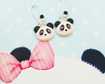 earrings kawaii panda polymer clay