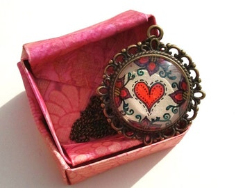 Heart Stitch Necklace Hand Drawn Pendant Floral Design Love Art Henna Mehndi Vintage Style Handmade Jewelry Happiness Symbolism