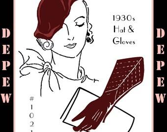 Vintage Sewing Pattern 1930s Ladies' Hat & Gloves Depew 1021 -INSTANT DOWNLOAD-