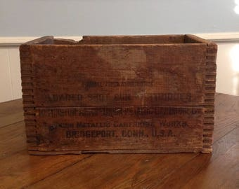 Antique Remington Arms Union wooden ammo shipping box ammunition crate old wood advertising rustic industrial storage display home decor
