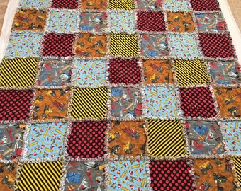 "Rag Quilt Construction Trucks  Tools Construction Zone Blanket 50"" X 56""  Cotton Flannel  Baby Toddler Boy  Girl  Birthday Baby Shower"