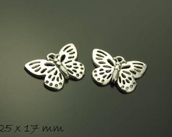 Pendant butterfly Silver 25 x 17 mm