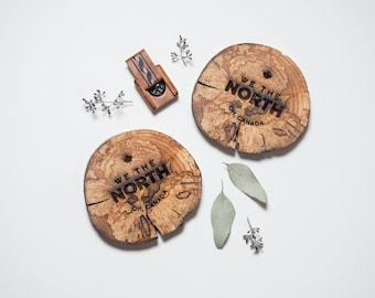 We The North West Coasters - Wood Coasters - Driftwood Engraved Coasters - Sustainable Gift - West Coasters - Wood - Eco Houseware
