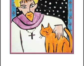 St. Francis with Orange Cat Blank Notecard
