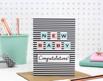 New Baby Card - new baby girl card - new baby boy card - new parents card - baby card - its a girl - its a boy