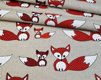 Linen - cotton fabric with fox