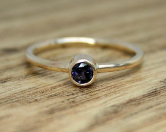 9ct recycled yellow gold ring with large purple faceted spinel, eco engagement ring, ethical jewellery