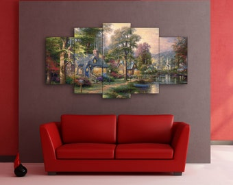 Village on the river art on canvas