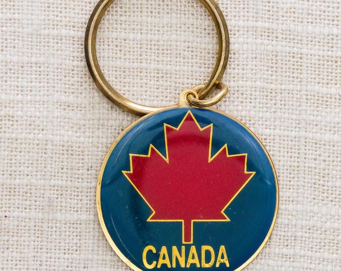 Vintage Canadian Keychain Canada Maple Leaf Vintage Keychain Blue Red Gold Round Key FOB Brass Key Chain Souvenir 7KC