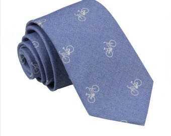 Mens Ties.Blue Bicycle Ties.Mens Neckties with Bike Design.Novelty Ties.Gifts for Men