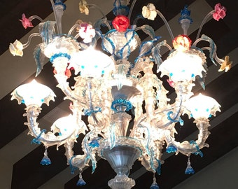 Hand Blown Glass Chandelier from Venice/Murano Italy