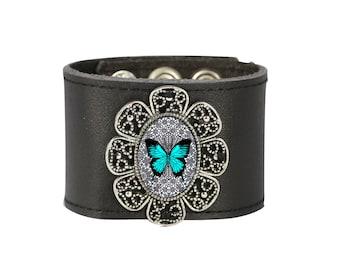 Leather Cuff Bracelet, Leather Bracelet, Blue Butterfly Bracelet