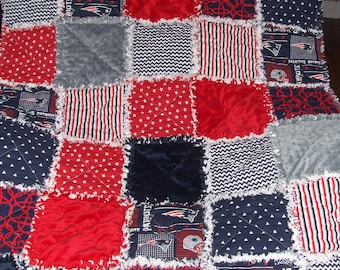 New England Patriots Rag Quilt Nursery Baby Toddler Bedding Football Custom Personalized Red White & Blue Teen Adult Throw * Made to Order *