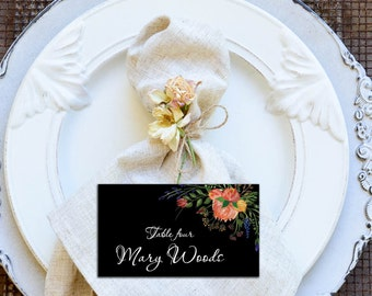 Black Place Cards, DIY Place Card Printable, Watercolor Flowers and Black Background Wedding PlaceCards, code-036