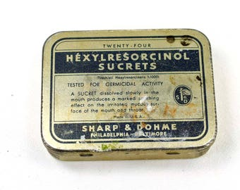 Vintage Sucrets Tin Empty Collectible Sharp & Dohme