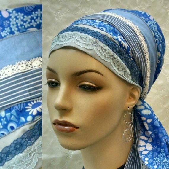 Cool cotton sinar tichel, tichels, head wrap, head scarf, Jewish hair covering, hair snood, chemo scarf, alopecia scarf, mitpachat, blue