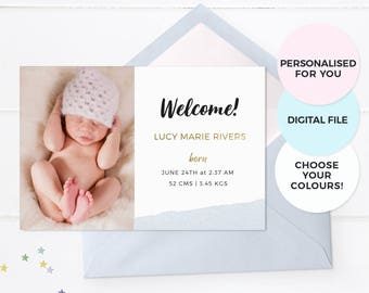 Baby announcement cards, Boy birth announcement card, Girl birth announcement, Photo announcement, Printable birth announcement, Milestones