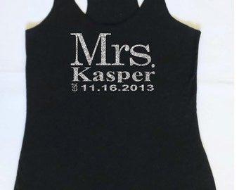 Eco Mrs. Tank Top. Wedding Clothing. Personalized date Shirt. Bride Gift. Mrs. Last Name Tank top. Wedding Tank Top.