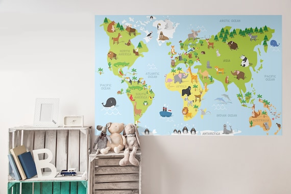 World map removable wall decal for kids colorful educational gumiabroncs Choice Image