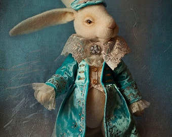 White Rabbit Alice In Wonderland Needle Felted White Rabbit Needle Felted Bunny, Rabbit from Alice, Felt Rabbit, Art Doll