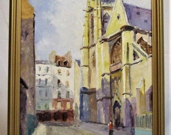 Original small oil painting European village landscape with Church signed Gruner Mother Wife peaceful small ART GIFT