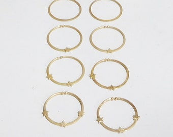 """Non Pierced Large Hoop Earrings with Stars Gold Tone Boho Hippie Jewelry 1 1/2"""" Lightweight Comfortable Never Worn, Vintage 70s 80s,"""
