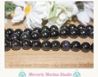 10 pearls Obsidian eye celestial 6mm 8mm or 10mm beads not dyed and unheated * reiki * chakras