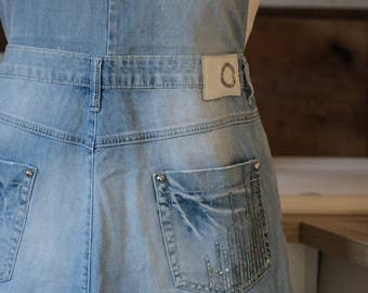 Sequinned recycled jeans cooking/working bib apron,light blue apron,bling bling apron.