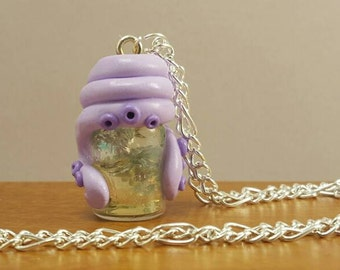 Chain Octopus with Octopus necklace made of Millefiore glass vial bottle