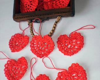 Crochet heart Small heart Crochet applique Red cotton heart Valentine's day ornament Heart embellishments Crocheted heart Valentine supplies